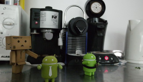 bitstars coffee machine surrounded by androids